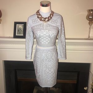 Banjul   Powder Blue Studded 2 Piece Skirt Set